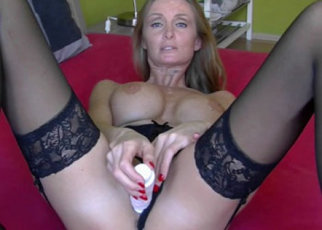 Horny mom Lexie fucks her dildo